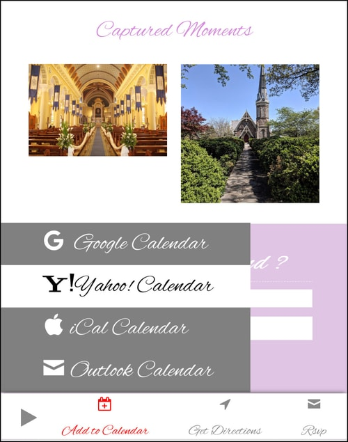 Directions to wedding venue